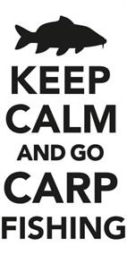 Sticker keep calm and go carp fishing klein (20 x 10 cm)