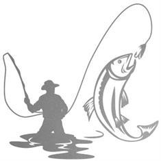 Sticker vliegvisser groot (25 x 25 cm)